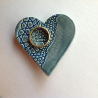 Turquoise heart ring dish reserved listing for Kate