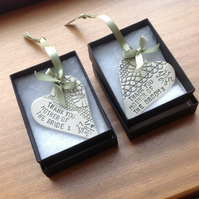Ceramic mother of the bride and groom hearts reserved for shanna