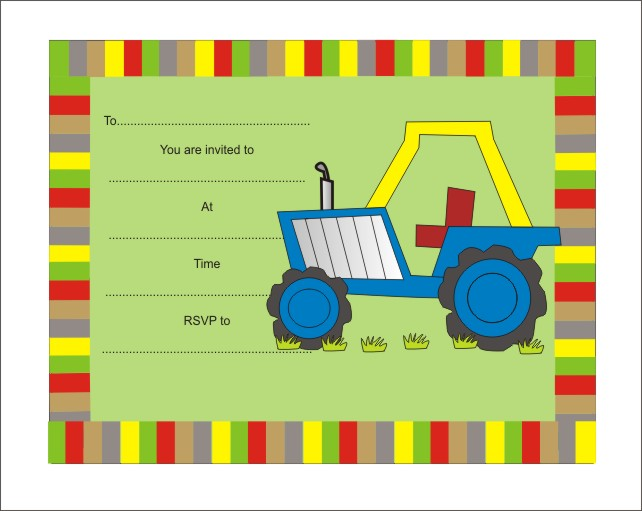 Tractor Childrens invitations