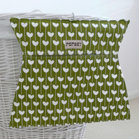Fabric clothes peg bag. Olive green. Modern print. Laundry. Handprinted.