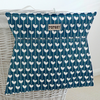 Fabric clothes peg bag. Petrol Blue. Modern print. Laundry. Handprinted.