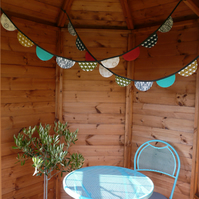 Fabric Bunting. Scallop. Coloured Flags. Party Decoration. Home Decor. Handmade.