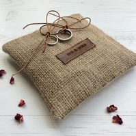 Mr and Mrs Ring Bearer Pillow. Wedding ring cushion. Burlap Ring Holder. Wedding