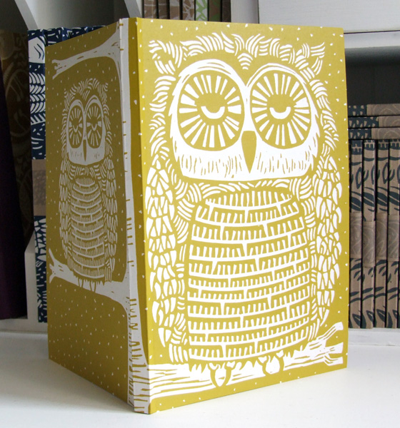 Owl linocut Eco Journal, recycled PROMOTION