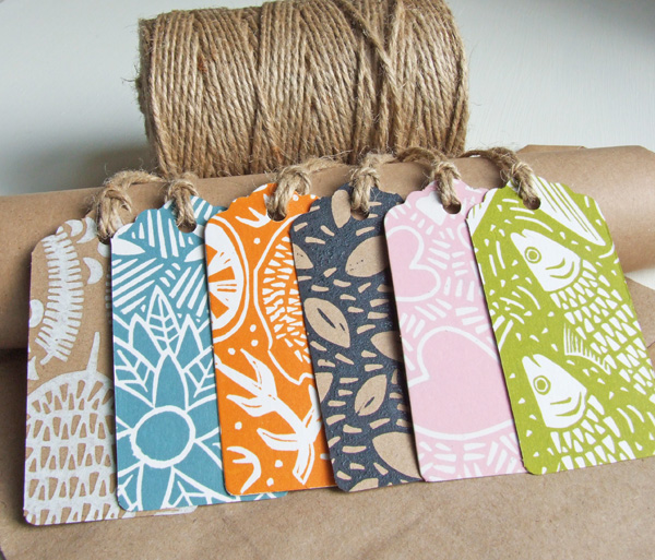 Gift-tags (x6), linocut Free UK Shipping