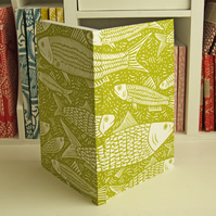 Fish linocut journal, free UK shipping