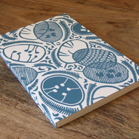 'Honesty' linocut eco journal, recycled