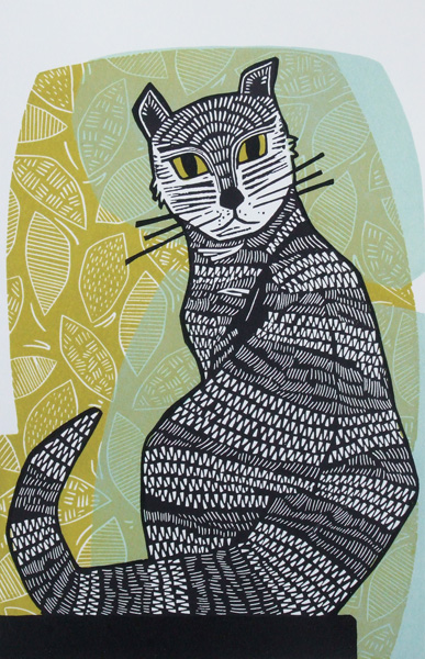 Black Cat Linocut