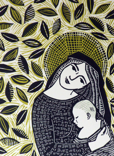 Madonna and Child Linocut Print