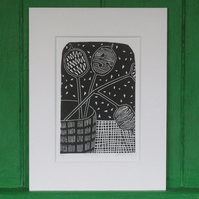 Linocut Seedheads Free UK Shipping