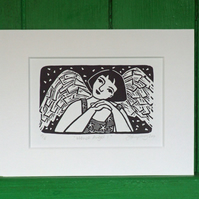 Linocut Angel Free UK Shipping Stocking Filler