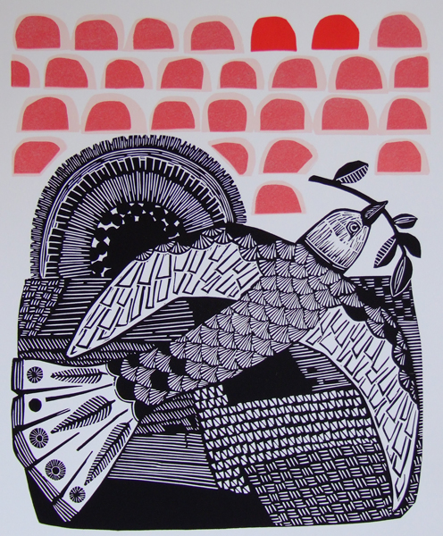 Bird and Sun Linocut Free UK Shipping