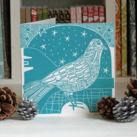 Winter Dove Linocut Card Free Shipping (U.K.)