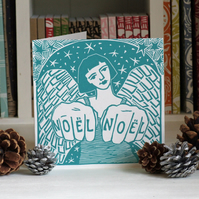 Tattoo Angel i Linocut Christmas Card Free Shipping (U.K.)