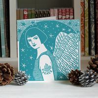 Tattoo Angel ii Linocut Christmas Card Free Shipping (U.K.)