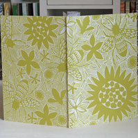 'Bees' linocut eco journal, recycled