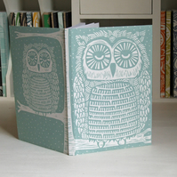 Owl linocut eco journal, free UK shipping