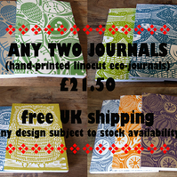 2 Handprinted Linocut Journals Offer Free UK Shipping