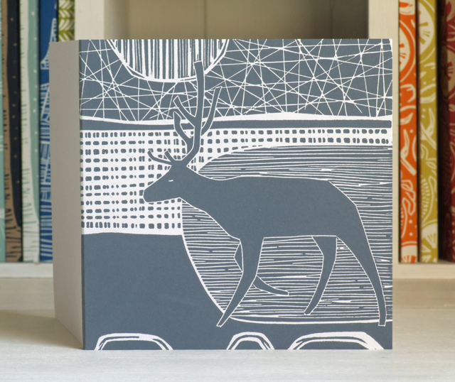 Stag linocut art card Free UK shipping
