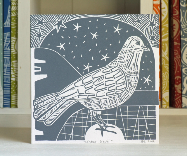Dove linocut Christmas card Free UK Shipping