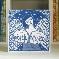 Angel linocut Christmas card Noel Noel Free UK Shipping