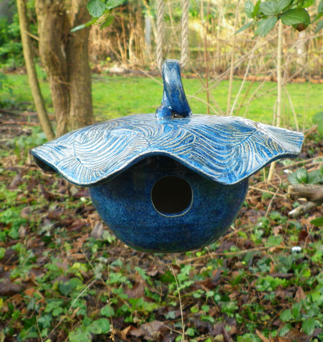 Bird house feeder nesting box in stoneware weatherproof ceramics pottery ceramic