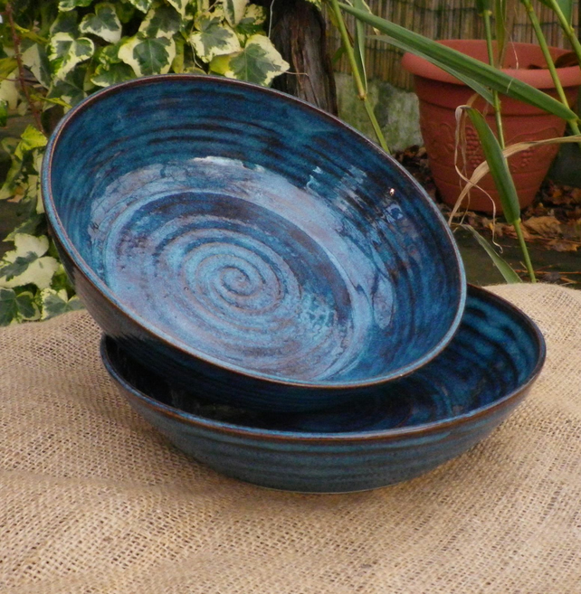 Pair Of Soup Noodle Or Serving Bowls Handthrow Folksy