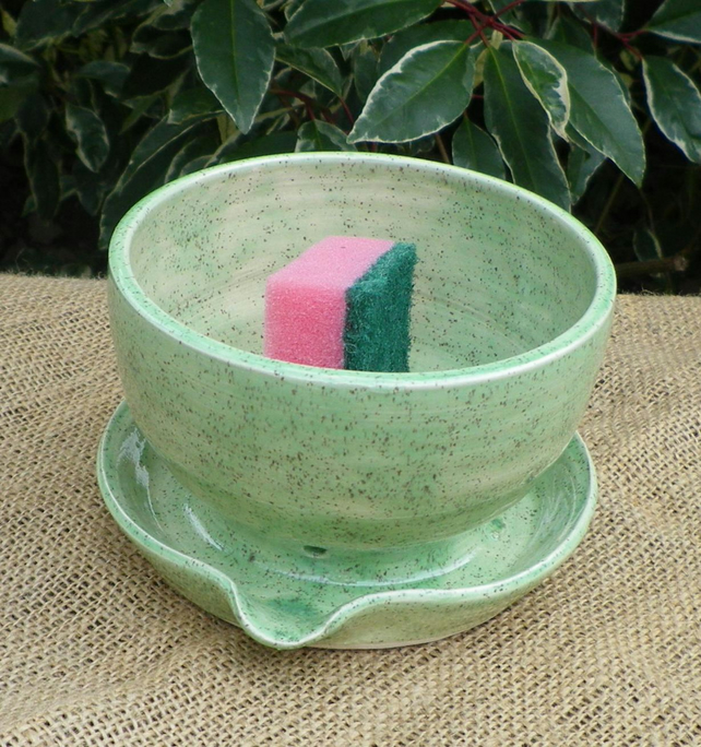 Sponge, dishcloth,scrubby holder drainer hand thrown pottery ceramic