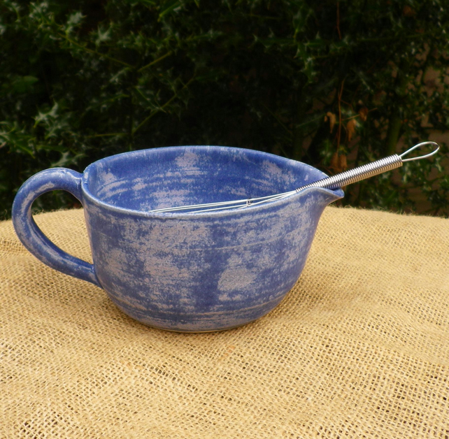 Batter mixing or pouring bowl hand thrown stoneware with a whisk ceramic pottery