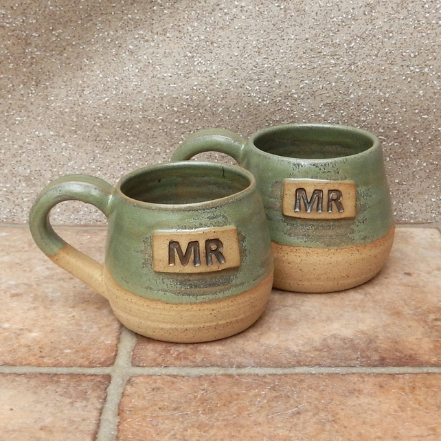 Pair of Mr and Mr cuddle mugs coffee tea cups in stoneware hand thrown pottery