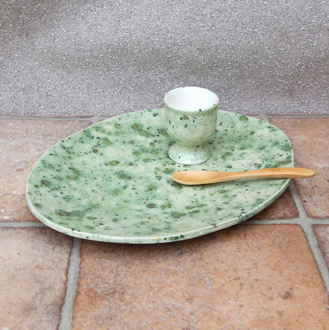 Breakfast egg cup and plate set handmade pottery