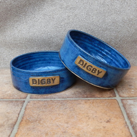 Personalised small dog or puppy feeding bowl wheelthrown stoneware pottery