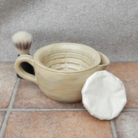 Shaving bowl shave scuttle hand thrown in stoneware