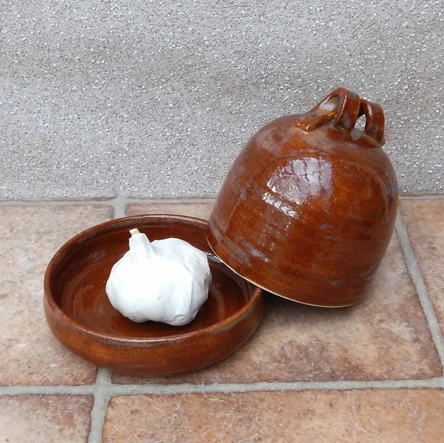 Garlic roaster or butterdish hand thrown stoneware ceramic butter dish