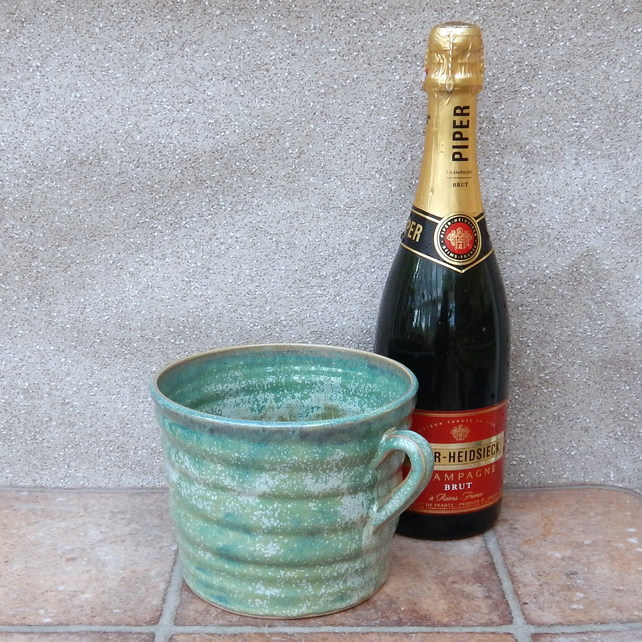 Wine cooler chiller ice bucket hand thrown in stoneware pottery