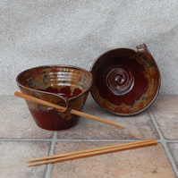 Pair of noodle, soup or cereal  bowls hand thrown in stoneware ceramic pottery