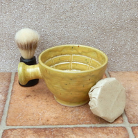 Apothecary shaving shave bowl hand thrown in stoneware soap