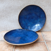Pair of dinner bowls dish handmade in stoneware pottery