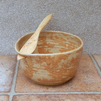 Pate bowl dip serving dish hand thrown stoneware with a swedish butter knife