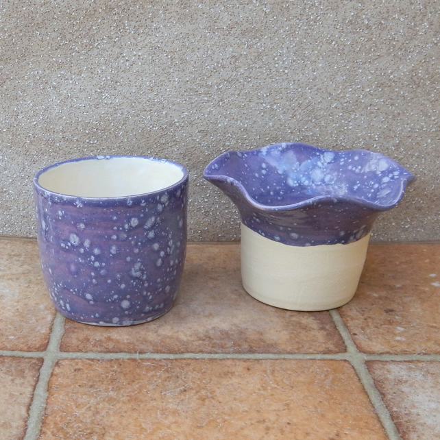 African violet self watering plant pot hand thrown pottery ceramic