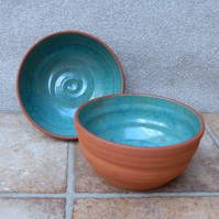 Pair of serving bowls hand thrown in terracotta pottery