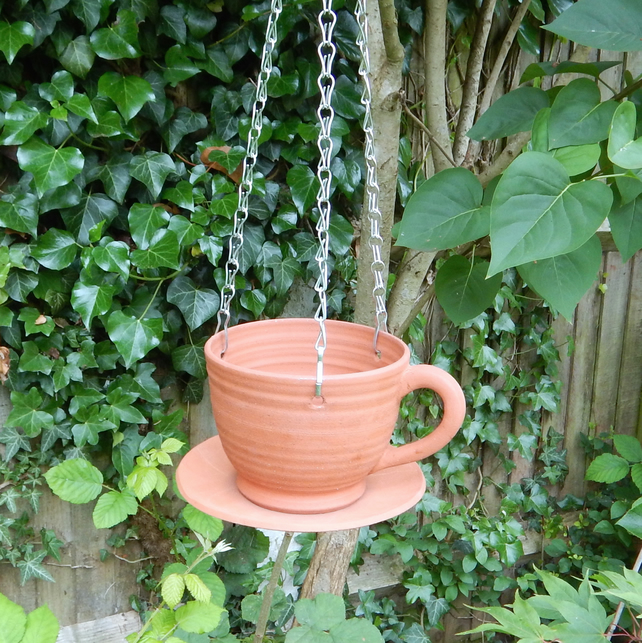 Bird feeder tea cup hand thrown terracotta pottery hanging planter