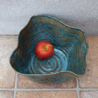 Centrepiece decorative dish fruit bowl wheel thrown stoneware ceramic pottery