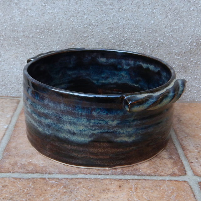 Serving bowl or casserole, bread baking dish hand thrown in stoneware pottery
