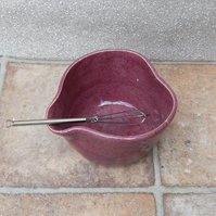 Egg whisking bowl hand thrown stoneware mixing pouring with a whisk