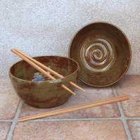 Pair of noodle or rice bowls hand thrown in stoneware ceramic pottery