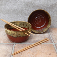 Pair of noodle, soup, or cereal bowls hand thrown in stoneware pottery ceramic