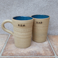 Mum and Dad latte coffee mug tea cup wheel thrown in stoneware ceramic pottery