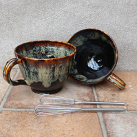 Hot chocolate or soup mug or bowl wheelthrown in stoneware pottery ceramic