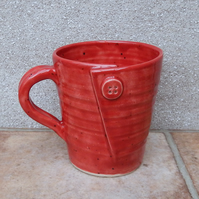 Coffee mug tea cup with a button handthrown in stoneware